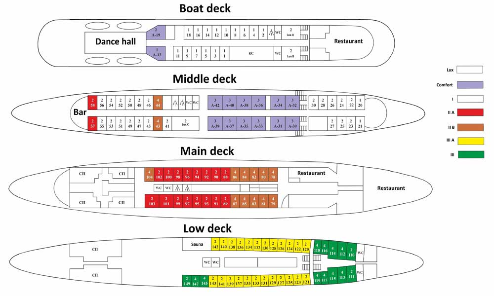"Plan of decks of the motor ship ""Ural"""